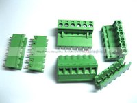 100 Pcs Green 6 Pin 5. 08mm Screw Terminal Block Connector Pl...