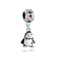 Style européen métal mignon cristal coloré Écharpe Pingouin dangle perle porte-bonheur porte-bonheur Convient bracelet Pandora