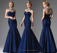 2015 Dark Blue Sexy Crystal Beaded Evening Dresses Long Formal Gowns Women Crew Cap Sleeve Mermaid Mother Of The Brides Dress BO8541