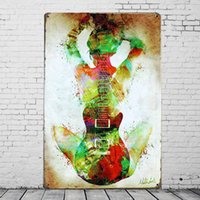 Sexy Invisible Guitar Tin Sign Retro Metal Painting Plaque H...