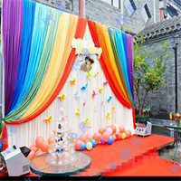 3m*6m wedding backdrop with rainbow swags backcloth Party Cu...