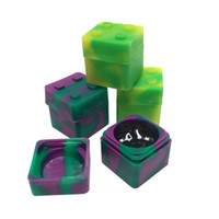 Square shape silicone jars dab wax vaporizer oil rubber cont...