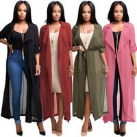 패션 긴 트렌치 코트 여성 반 소매 쉬폰 셔츠 가디건 코트 여성 윈드 스트랩 허리 아프리카 의류 도매 4 색