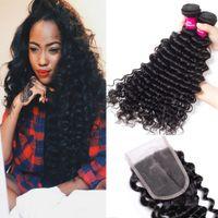 Brésilienne Deep Wave 3 Bundles With 1 Lace Closure 100% Bundles de cheveux brésiliens péruviens brésiliens avec fermeture Remy Hair Extension