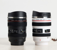 Nuova tazza di obiettivo della macchina fotografica di 5 generazione 400ml tazza di caffè del latte del boccale di viaggio portatile creativo dell'acciaio inossidabile di canapa del cilindro Novità tazze del regalo
