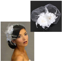2015 Sıcak Satış Kuş Kafesi Net Kadınlar Düğün Gelin Fascinator Yüz Peçe Tüy Beyaz Çiçek Tarak Elbise Moda Aksesuarları ile