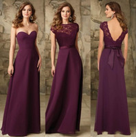 Chic Grape Chiffon Long Bridesmaids Dresses Backless Cheap B...