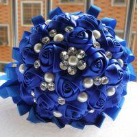 Hermosas flores de la boda Ramos De Novia Elegante Perla Novia Dama de honor Ramo de la boda Crystal Sparkle 2015 Nuevos Ramos