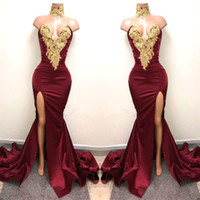Sexy Split Burgundy Mermaid Evening Dresses Sheer Gold Applique Vestidos De Festa Party Dress Prom Formal Pageant Celebrity Gowns Ball