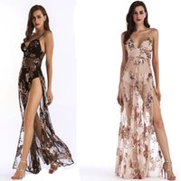 Fashion Womens Bandage Bodycon V Neck Sequins Splited Party ...