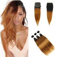 Paquetes de cabello castaño rojizo ligero con cierre de encaje de dos tonos de color 1b 30 Cierre de encaje recto con paquetes de pelo marrón Ombre 4pcs / lote