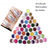 12 renkler 45 renkler set Ince Toz Glitter Pot Nail Art Yüz Vücut Göz Farı Zanaat Yanardöner Parlak Nail Art Glitters Nail Art Süslemeleri