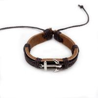 Pulseras de cuero trenzado monocromático cuerda de cuero hecho a mano dibujo pulsera de ancla de moda coreana