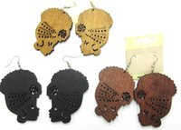 Wholesale- Free Shipping! Afro Girl Women Wooden Earrings ca...