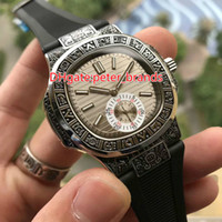 High quality luxury watch carved silver case black rubber st...