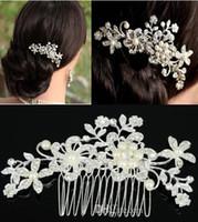 نمط جديد لؤلؤة الزفاف مشط الزفاف اكسسوارات الشعر أغطية الرأس مجوهرات تخيل الحقيقي TS000029