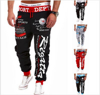 Mens Pants Elastic Waist Printed Letters Loose Cargo Casual ...