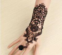 レトロな花嫁の花嫁介添人ウェディングドレスアクセサリー女性パーティーレースブレスレットブライダルの結婚手袋パールレースの手袋花輪