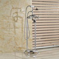 Venta al por mayor y al por menor de lujo de latón cromado de pie derecho relleno de cerámica ducha de mano baño bañera grifo piernas dobles