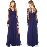 Voir à travers les manches longues robes de soirée 2015 V cou en mousseline de soie robes de bal longues robes d'usure du soir avec des robes latérales Split arabe