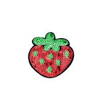 10PCS Strawberry Sequined Patches for Clothing Iron on Transfer Applique Fruit Patch for Jeans Bags DIY Sew on Embroidery Sequins
