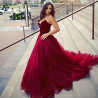 Dark Red Ball Gown Evening Dresses V Neck Velvet Tulle Princess Long Prom Miss World Pageant Quinceanera Dress