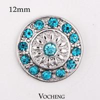 Vocheng Noosa Austauschbare Schmuck Zubehör Silber Überzogene 12mm Kleine Ingwer Snaps Charms Blau Kristallknöpfe Schmuck (Vn-372)