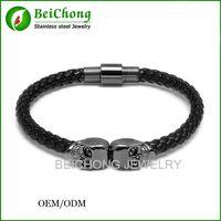 BC Jewelry Northskull Spedizione gratuita Bracciale in acciaio inossidabile 316l con cinturino in vera pelle per uomo e donna BC-190
