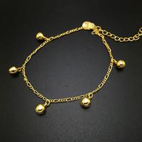 Para el tobillo plateadas moda 24k oro para las mujeres, Fascinating Rhythm pequeño pie campana cadena de joyería de las sandalias descalzas