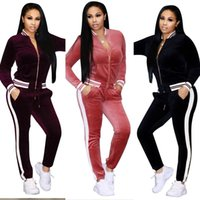 Ladies Winter Autumn Casual Velvet Two- piece Outfits Long Sl...