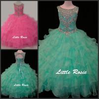 Petite Rosie Enfants Robes De Soirée Scoop Neck Cristal Baguettes Strass Diamants Menthe Vert Enfants Pageant Robes Filles Robe De Bal Robe De Bal