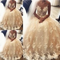 2018 Champagne Lace Wedding Dresses V Neck Sleeveless Floor ...