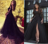 vestidos festa 2017 Arabic Black Long Formal Evening Gowns S...