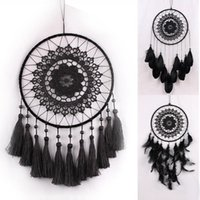 Black Crochet Lace Flower Wind Chimes Dreamcatcher with Net ...