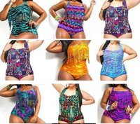 Aztec Tiger Snake Plus Size Taille haute imprimé Bikini Femmes potelées Sexy Fringe Tassel Maillot de bain Push Up Padded Bra + slips Maillots de bain Maillot de bain