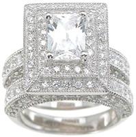 Professionnel En Gros Vintage Bijoux Topaz Simulé Diamant 14KT Or Blanc Rempli 3-en-1 Bague De Mariage Ensemble pour Noël cadeau Sz 5-11