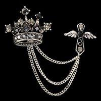 Homens Brooch Liga Vintage Unisex Jóias Cristal Crown Cross Tassel Broche Para As Mulheres Pin Up Broches Atacado 12 Pcs