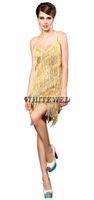 Speakeasy Prohibition 1920'S Latin Salsa Tango Ballroom Dance Dress Abbigliamento Dancewear Costumi di usura con frange e nappa economici per adulti