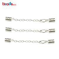 Beadsnice 925 Ayar Gümüş Deri Kordon Sonu Istakoz Kapat Genişletici Zinciri Ile DIY Bilezik Yapımı için ID36514