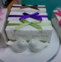 Свадебные сувениры на память керамические любовь птицы соль и перец шейкеры для детей праздничные атрибуты 200 пар / лот Оптовая