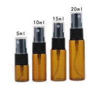 3 5 10 15 20 ML Mini Botella de Perfume de Cristal Marrón Portátil Perfume de Viaje Botella de Spray Atomizador Envase Cosmético
