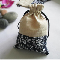 Goedkoop wit en blauw samenvoegend sieraden gift zakken kleine trekkoord katoenen doek verpakking pouches 50 stks / partij mix kleur gratis verzending
