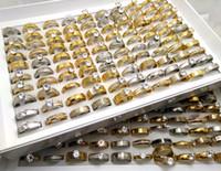 Gioielli 50pcs Top Mix Uomini Donne zircone strass stainelss acciaio CZ Wedding Rings di fidanzamento a cristallo fascino anelli di amanti anello del partito