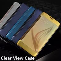 Miroir en cuir Flip Smart Case luxe Electroplate plaqué Transparent Clear Chrome Cover Wallet Cover pour Samsung Galaxy S7 bord S7 Note 5