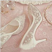 Schöne High Heel Hochzeit Schuhe Spitze Strass Frühling Brautkleid Schuhe Sexy Hohl Transparente Spitz Prom Kleid Schuhe