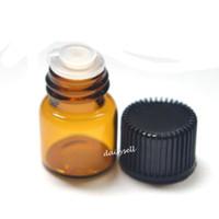1 мл небольшой ясный Янтарный бутылка пустой стеклянная бутылка тянуть отверстие Rducer завинчивающаяся крышка мини эфирное масло флаконы