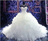 Новый Роскошный Бисером Аппликации Свадебное Платье Принцесса Платье Милая Корсет Органза Собор / Церковь Бальное Платье Свадебные Платья Дешевые