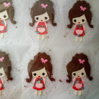 Alta qualità 20pcs / lot trasferimento di calore di stampa fai da te Cute Cartoon Girl Iron On patch tessuto fai da te Applique Badges