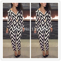 2015 New Women Fashion Sexy Jumpsuit Black White Striped V- n...