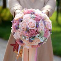 Ipek Düğün Buket Yapay Ev Partisi Deco Çiçekler Gelin Buketi Gül ve pembe ortanca Düğün Buket de mariage
